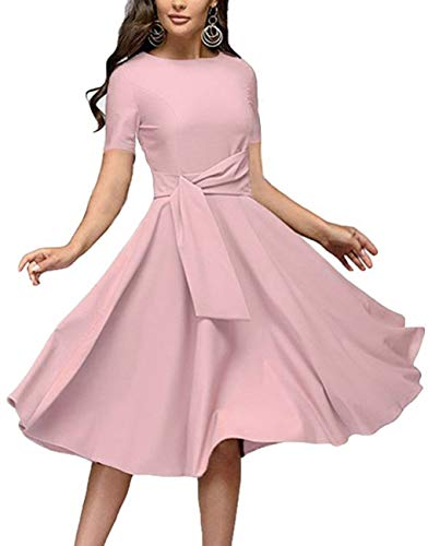 Women's Elegance Audrey Hepburn Style Ruched Dresses Round Neck 3/4 and Short Sleeve Pleated Swing Midi A-line Dress with Pockets(Light Pink, Large)