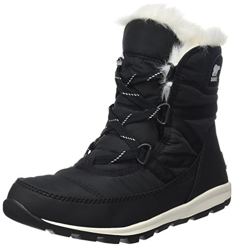 Sorel Women's Whitney Short Lace Snow Boot, Black, Sea Salt, 9 M US by Sorel