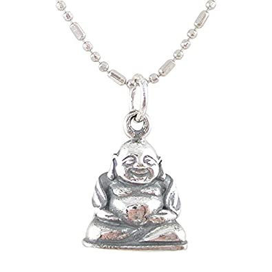 Amazon small sitting laughing buddha pendant in sterling small sitting laughing buddha pendant in sterling silver on an 18quot rhodium plated sterling silver aloadofball Image collections