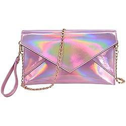 Candice Shiny Fashionable Hologram Holographic PU Evening Clutch Bag Envelop Bag Handbag Shoulder Bag Crossbody Bag for Gift(Pink)