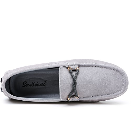 SONLLEIVOO Penny Shoe Leather Moccasins Black Loafers Boat Flat On Footwear Shoes Grey Driving Moccasin Mens Slip Suede 4wqIZxr4