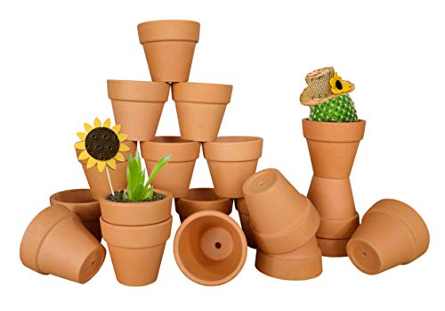 My Urban Crafts 20 Pcs Small Mini Clay Pots 2.1 inch Mini Terracotta Pots Clay Ceramic Pottery Planter Cactus Flower Pots Succulent Nursery Pot Great for Indoor/Outdoor Plants, Crafts, Wedding Favors