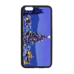 ipod touch4 Case, Christmas Joyous Tree Sparkle Blue Sky TPU Frame & PC Hard Back Protective Cover Bumper Case for ipod touch4 Inch On 2014