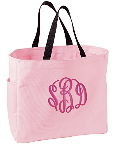 All about me company Canvas Essential Tote Bag | Personalized Monogram/Name Shoulder Bag (Pink)