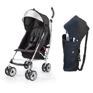 Summer Infant 3D Lite Convenience Stroller with Padded Travel Bag, Black