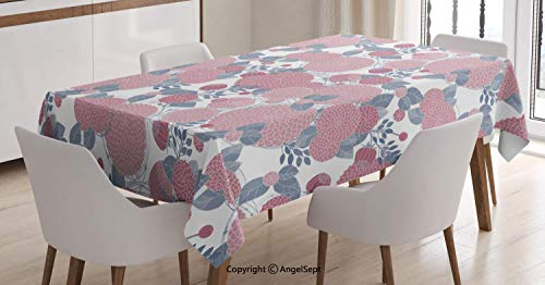 (Water Resistant Tablecloth,Modern Nature Inspired Ornament with Round Abstract Flowers Graphic,for Kitchen Dinning Tabletop Decoration,Dimgrey Dried Rose and White,5270 inch )