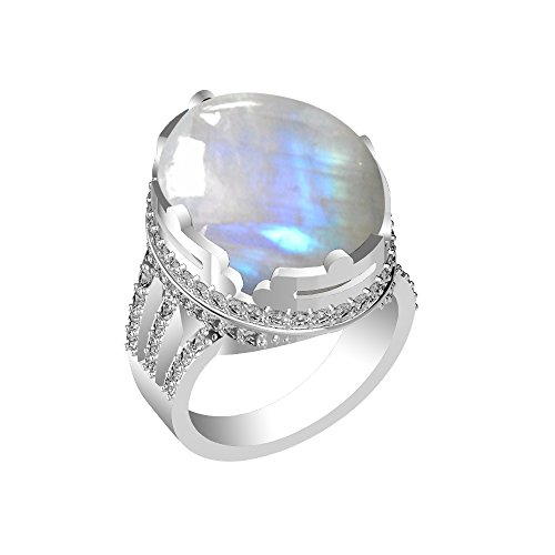 Oval Genuine Moonstone Ring - 15.15ct, Genuine Rainbow Moonstone Oval & .925 Silver Overlay Cocktail Solitaire Ring Size-9