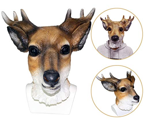 Animal Deer Mask Latex Full Head Reindeer Costume Mask Horns Fancy Giraffe Dress Props Cosplay Party Mask Adult Size -