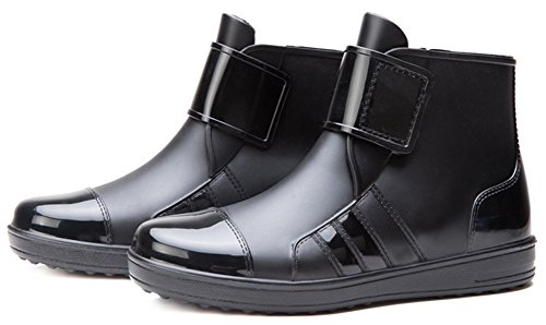 IDIFU Men's Stylish Flat Ankle High Rain Rubber Boots Short Wellies Hook And Loop - stylishcombatboots.com