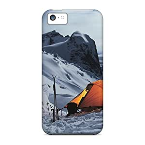 Anti-scratch And Shatterproof Landscape Tent Snowy Mountains Phone Case For Iphone 5c/ High Quality Tpu Case