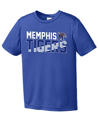 (NCAA Memphis Tigers Youth Boys Diagonal Short sleeve Polyester Competitor T-Shirt, Youth X-Large,Royal)