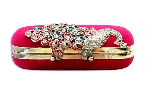 Diamante De Rosa De del KAXIDY Embrague de Bolso Bolsa Bolsa Negro Elegante rojo Pavo Mujeres Cristal 6qEUTP