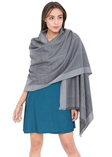 Diamond Weave Textured Merino Wool Pashmina Scarf Grey