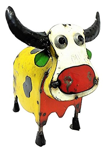 - Rustic Arrow Medium Colorful Cow Statute, Multicolor