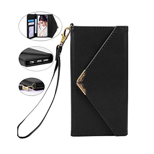 Crosspace iPhone XR Case, iPhone XR Wallet Case,Envelope Flip Handbag Shell Women PU Leather Slim Holster Magnetic Folio Cover with Card Holder Wrist Strap for iPhone XR 6.1