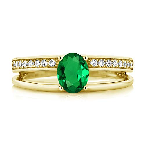 Gem Stone King 0.76 Ct Oval Green Simulated Emerald 18K Yellow Gold Plated Silver Double Band Ring (Size 8)