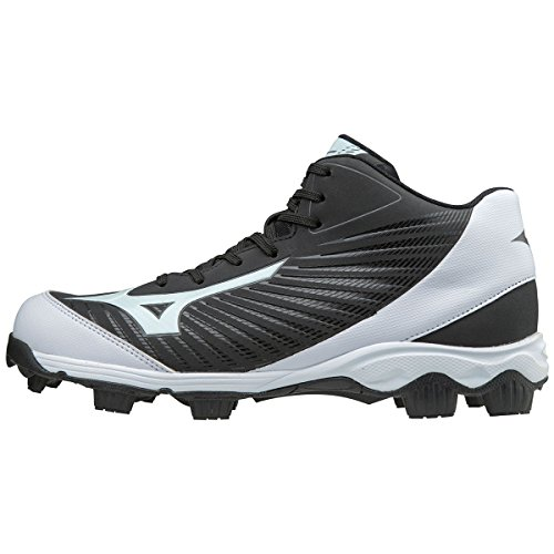 Mizuno (MIZD9) Men's 9-Spike Advanced Franchise 9 Molded Cleat-Mid Baseball Shoe, Black/White, 11.5 D US
