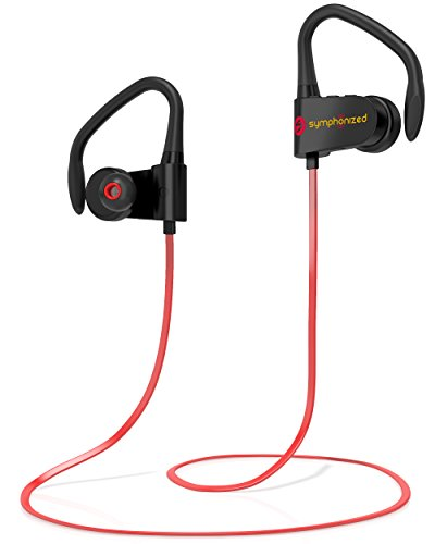 Symphonized PWR Bluetooth Earbuds, Wireless, Water Resistant Sport Earphones with Mic, HD Stereo, Sweatproof in-Ear Headphones, Secure Fit Buds, Gym, Running, Workout, Travel Headset (Red) (Symphonized Nrg Earphones)