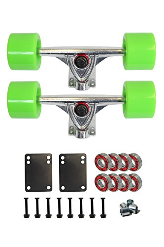 "SCSK8 Longboard Skateboard Trucks Combo Set w/ 70mm Wheels + 9.75"" Truck Package (Neon Green)"