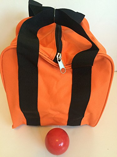Unique Bocce Accessories Package - Extra Heavy Duty Nylon Bocce Bag (Orange with Black Handles) and Red pallina by BuyBocceBalls