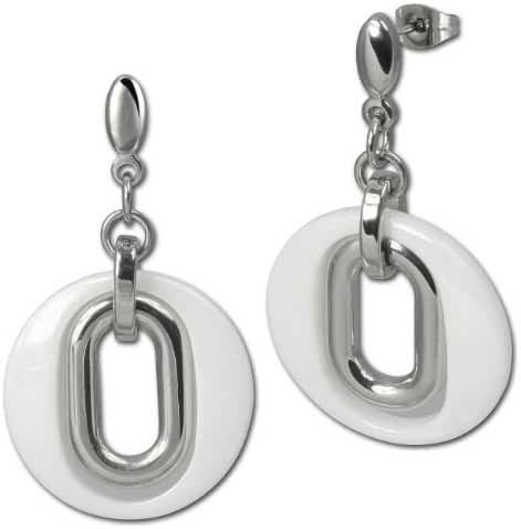 Amello stainless steel Drop Post Earring, MAGIC white and steel element, original Amello ESOX03W
