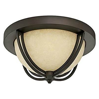 Westinghouse 6302300 Malvern Two-Light Indoor Flush Mount, Oil Rubbed Bronze Finish with Smoldering Scavo Glass