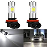 KaTur Super Bright H11 H8 DRL Fog Light Replacement 2835 21SMD Led Car Driving Daytime Running Lights Xenon White 6000K DC 12V 10.5W 2-Pack