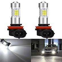 KaTur Super Bright H11 H8 DRL Fog Light Replacement 2835 21SMD Led Car Driving Daytime Running Lights Xenon White 6000K DC 12V 10.5W 2-Pack