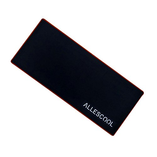 ALLESCOOL Mouse Pad, anti-slip and stick to desk tightly,ultra thickness(3mm), red stitched edges mouse pad for office and gaming