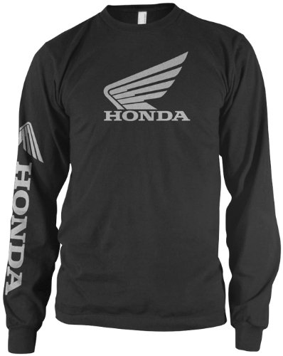 Honda Motorcycle Shirts (Honda Mens Wing Long-Sleeve Shirt, Black, Large)
