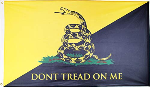 Dont Tread On Me Flag Gadsden Anarcho Capitalist AnCap, 3×5 Feet, Single Sided Reverse, Heavy Duty 200D Knitted Polyester, Brass Grommets, Premium UV Resistant Digitally Printed Rich 3 X 5 ft Display