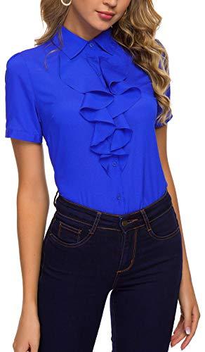 ACONIYA Womens Vintage Long/Short Sleeve Lotus Ruffled Casual Work Shirt Chiffon Blouse Tops (XL, Blue 2) - Free Ruffle Top