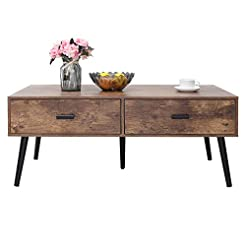 IWELL Mid-Century Coffee Table with 2 Dr...