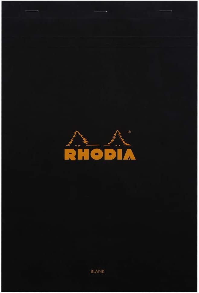 Rhodia Classic Black Notepad 8.25x12.5 Blank (80 Sheets)