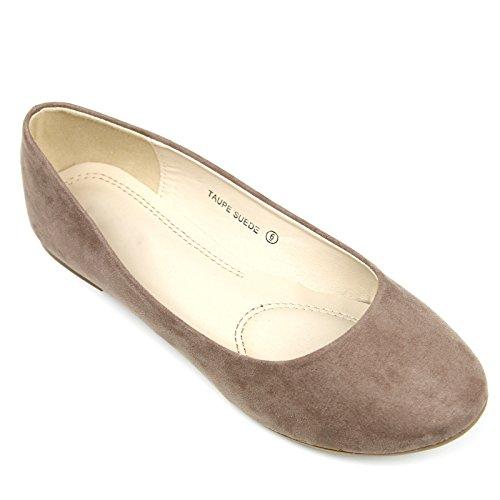 Womens Casual Comfort Slip Op Ronde Neus Ballet Suède Platte Schoenen Taupe