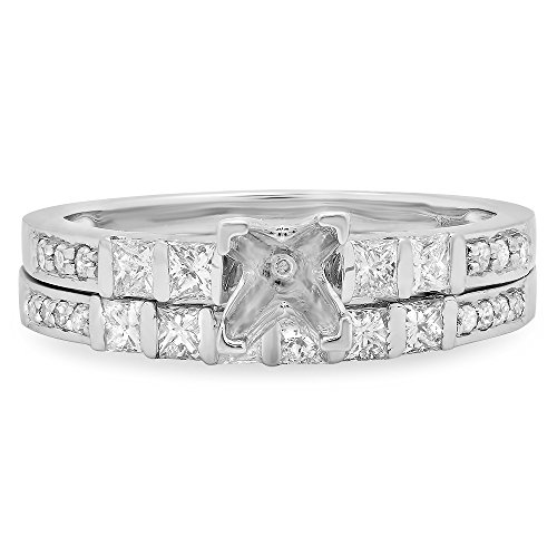 0.80 Carat (Ctw) 14k White Gold Princess & Round Diamond Ladies Bridal Semi Mount Engagement Ring Set (No Center Stone) (Size 7)