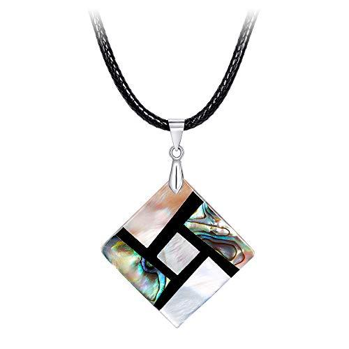 - FM FM42 Women's Shell Square Shape Pendant Necklace with 19