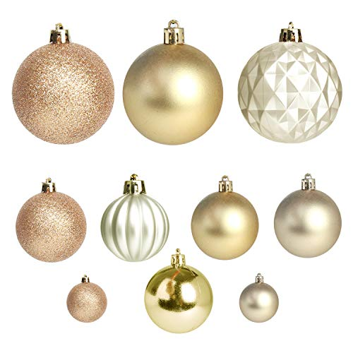 Jusdreen Christmas Tree Hanging Balls Decoration Roping 50 Pcs Baubles Set Christmas Package Tree Ornament - Gold&Champagne