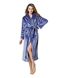 Cahayi Women Men Bathrobe Long Thick Plush Coral Fleece Robe Plus Size Winter