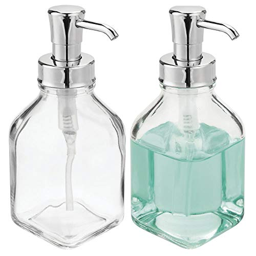- mDesign Square Glass Refillable Liquid Soap Dispenser Pump Bottle for Bathroom Vanity Countertop, Kitchen Sink - Holds Hand Soap, Dish Soap, Hand Sanitizer, Essential Oils - 2 Pack - Clear/Chrome