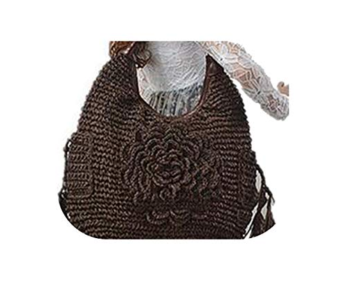 Paper Rope Hand Woven Flower Beach Bag Large Capacity Straw Bag,Coffee