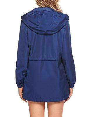 SummerRio Women's Long Hooded Rain Jacket Waterproof Active Outdoor Raincoat With Pockets