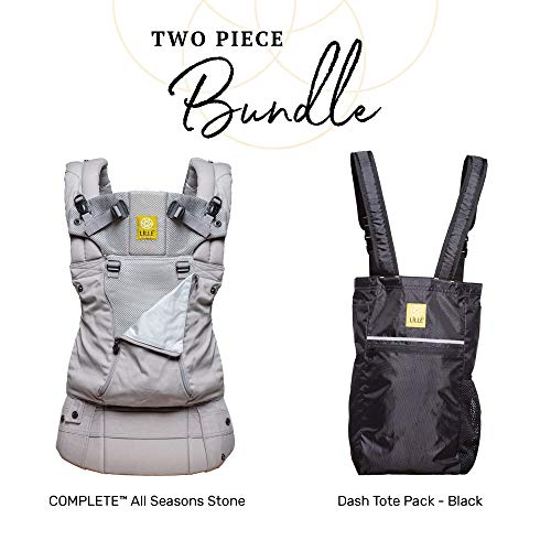 LÍLLÉbaby Complete Baby Bundle, All Seasons -Stone Baby Carrier with Dash Totepack, Black (Dash Baby Product)