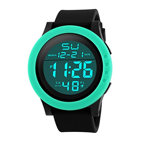 Siviki Sport Watches, Mens Digital Wrist Watches Military Sports Electronic Quartz Outdoor Army LED Stopwatch Big Face Watch Men G Style Waterproof Sports Military Watches (green) -