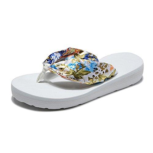 OCHENTA Sandalias - zapatillas de seda - pendiente con la playa Blanco