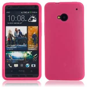 TPU Protective Case with PC Front Cover for HTC One M7 Rose Red