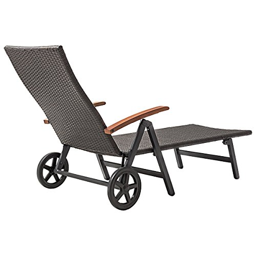 Outdoor Chaise Lounge with 2 Wheels for Easy Movement Folding Recliner 7 Adjustable Position Rattan Lounge Chair Heavy Duty Aluminum Tube Construction Perfect for Patio Garden Beach Pool Side Using by HPW (Image #5)