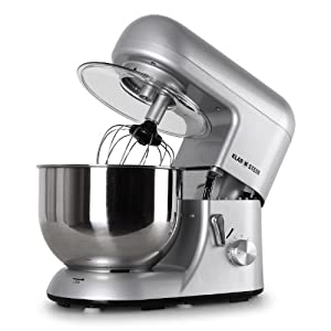 Klarstein TK2-Mix8-S Bella Argentea Küchenmaschine 1200 W, 5 Liter