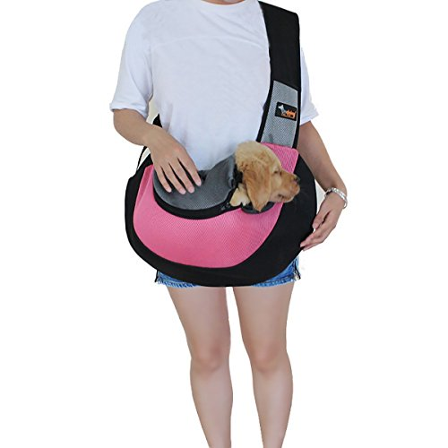 Acecharming Pet Sling Carrier,Breathable Soft Pet Travel Tote Carrier Pet Sling Shoulder Carry Handbag,Designed for Puppy,Kitty and Rabbits(Updated Version,Rose Red)