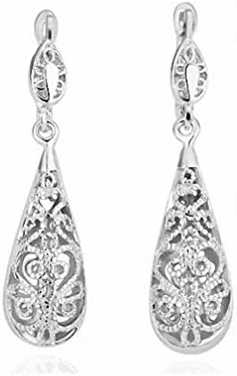 Hollow Out Peanut Silver Plated Nickel Free Women Dangle Earring